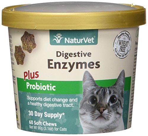 GARMON CORP NaturVet enzimas digestivas más probióticos para Gatos, 60 CT masticables Suaves, Fabricado en Estados Unidos