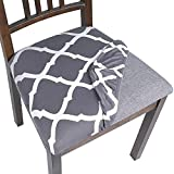 SearchI Seat Covers for Dining Room Chairs Stretch Printed Chair Seat Covers Set of 6, Removable Washable Upholstered Chair Seat Protector Cushion Slipcovers for Kitchen, Office(Grey+White)