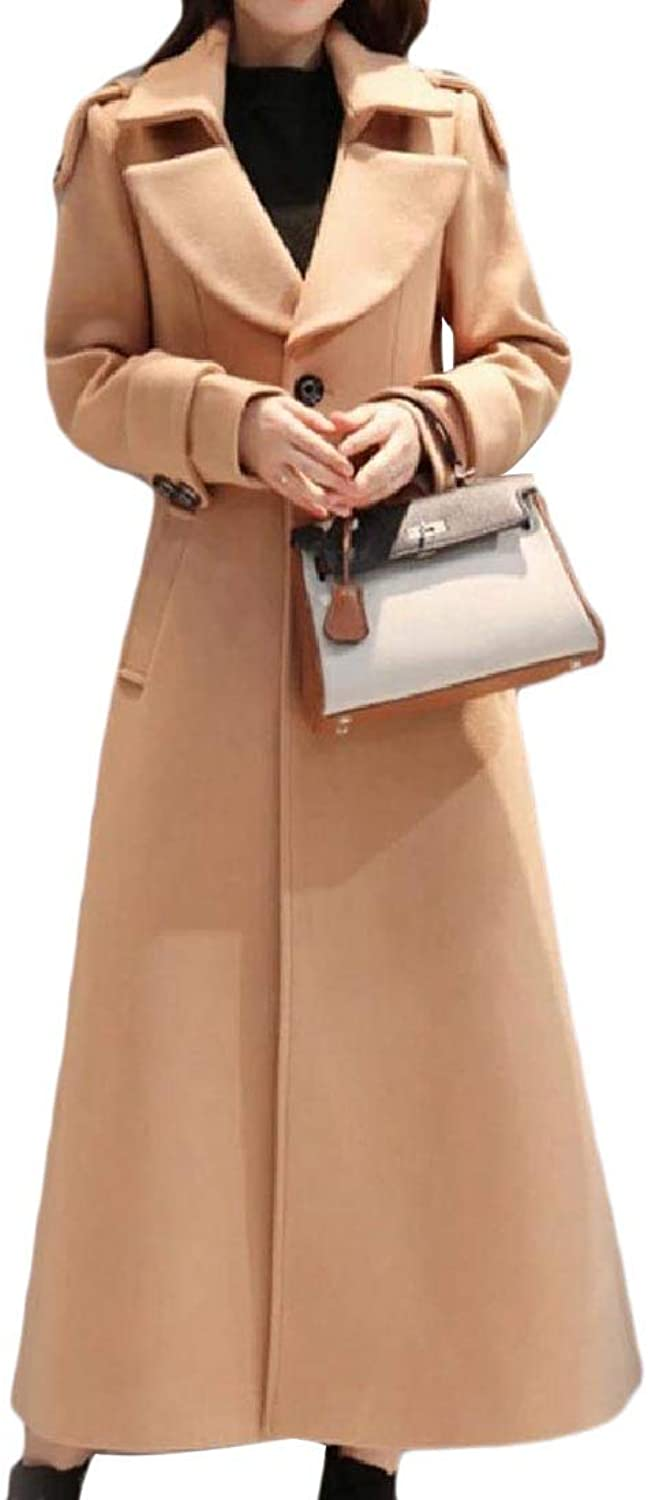 Coolhere Women Full Length Woolen TurnDown Collar Jacket Thickened Pea Coat