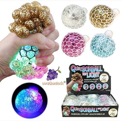 UvaQuetsch ® LED-Glitzer Quetschball +++ inkl. Geschenkbox +++ 2019 +++ Antistressball Stressball Knetball Quetschi (Zufall)