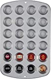 Wilton Piastra Mini Muffin Antiaderente 24 CAVITA' Teglia Muffins, Alluminio, Nero