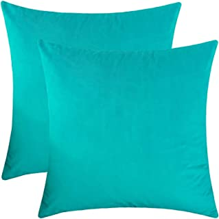 Jeneoo Comfy Soft Velvet Throw Pillow Cases for Sofa Couch, Decorative Solid Square Cushion Covers for Bedroom Car (Turquoise, 18 x 18 Inches, 2 Pieces)