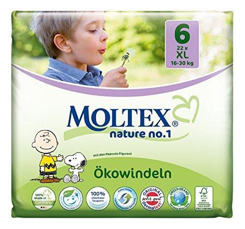 Moltex Nature No1 Lot de 132 couches écologiques pour bébé Taille 6 (16-30 kg) 6 x 22 pièces