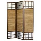 PEGANE Biombo japonés de Madera con bambú de 3 Paneles