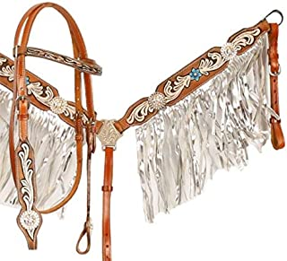 Showman Floral Painted Medium Leather Browband Headstall and Breast Collar Set