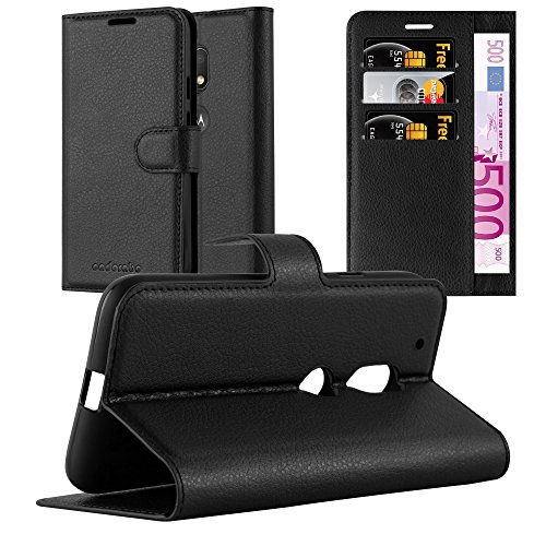 Cadorabo Hülle für Motorola Moto G4 Play in Phantom SCHWARZ - Handyhülle mit Magnetverschluss, Standfunktion & Kartenfach - Hülle Cover Schutzhülle Etui Tasche Book Klapp Style