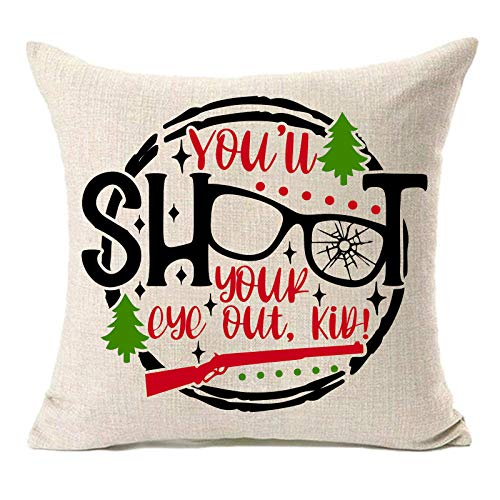 MFGNEH A Christmas Story You'll Shoot Your Eye Out Kid Christmas Decorations Pillow Covers 18x18 Inches Christmas Tree Cotton Linen Throw Pillow Case Cushion Cover,Christmas Decor