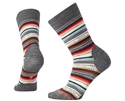 Smartwool Damen Weites Bein Socken Women's Margarita, Grau (MEDIUM GRAY HEATHER-BRIGHT CORAL A05), 34-37 (Herstellergröße S/P)