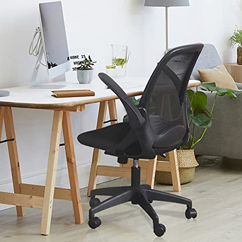 Office Chair, FelixKing Ergonomic Mesh Desk Chair with Adjustable Height, Swivel Computer Rolling Task Chair with Lumbar Support and Flip-up Arms, Conference Room Black