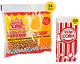 Carnival King Popcorn Kits [24pcs, 8 ounce] - Popcorn Machine Popcorn Packets Bundle w/ 200 Bags and...