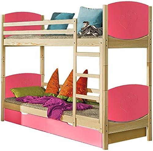 Kinderbett   Etagenbett Milo 31 inkl. 2 Schubladen, Farbe  Natur   Rosa Herz, teilmassiv, Liegefl e  80 x 190cm   (B x L), teilbar