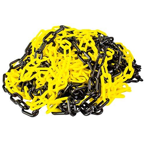 [ JBS basics ] Absperrkette gelb/schwarz [ 10 Meter lang ] Kunstoffkette Warnkette [ 6mm Glieder ] Parkplatzsperre Kette [Deutscher Händler] Sicherungskette Parkplatzkette