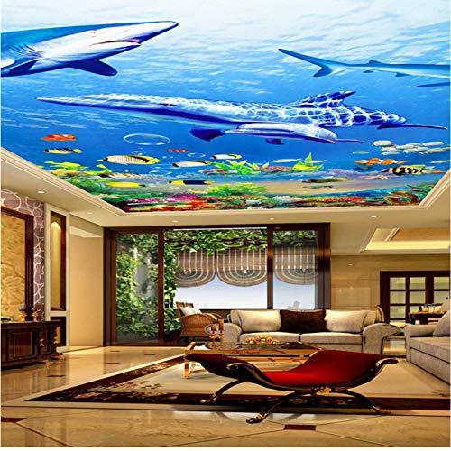 Zjxxm Custom Wallpaper 3D Photo Mural Marine World Dolphin Shark Ceiling Murals Background Wall Paper Home Decor Behang -350Cmx280Cm