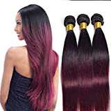 Ombre Two Tone 1B/99J Straight 3 Bundles 16 18 20 Inch Brazilian Virgin Human Hair 2 Tone 1b/Burgundy Black To Wine Human Hair Weaves Double Weft Full Thick 100g/Pcs
