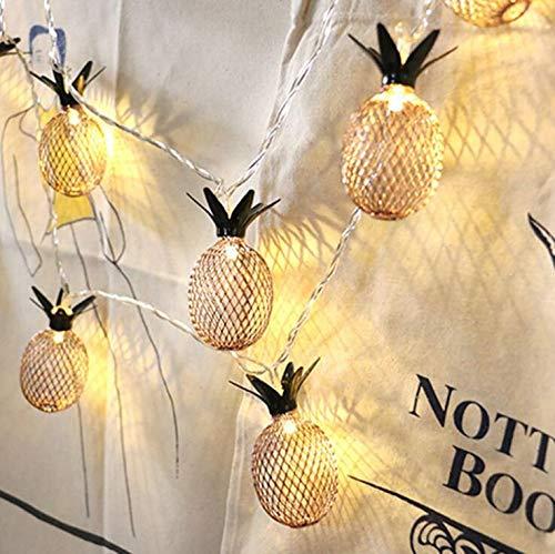 Marbeine Lichterkette, 1,5 m, 10 LEDs/3 m, 20 LEDs, Ananas-Lampen, batteriebetrieben, romantisch, für Hochzeit, Garten, Festival, Party, Halloween, kein Lachen, D-Form