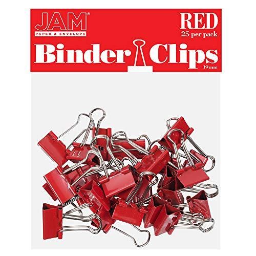 JAM PAPER Colorful Binder Clips - Small - 3/4 Inch (19 mm) - Red Binderclips - 25/Pack