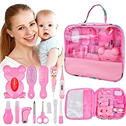 14 Kit Set Baby Healthcare Grooming, 13In1 Newborn Essentials Baby Care Stuff Shower Gifts Nail Clippers Trimmer Products, Comb Brush Thermometer Medicine Dispenser, Nursery Care First Aid Kits, Pink