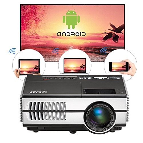 Proiettore Wi-Fi Android Proiettore Mini Video LCD Proiettore Home Cinema da 1500 Lumen Portatile Airplay Miracast Supporto HD 1080p HDMI USB VGA AV Per iPhone Tablet Laptop Lettore DVD Giochi