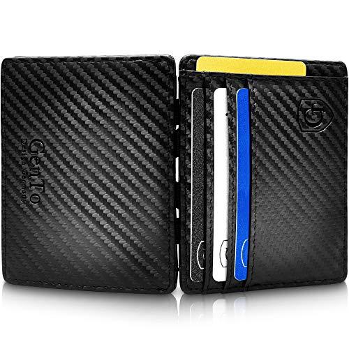 GenTo® Nevada - Geldbörse Herren - TÜV geprüft - Magic Wallet - Magischer Geldbeutel mit großem Münzfach - Inklusive Geschenkbox - Smart Wallet - Portemonnaie Männer(Carbon)