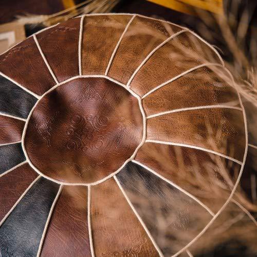 Handgefertigt Marokkanischen Runde Pouf Hocker,Falscher Pu Leather Boden Sitzkissen Ungefüllt 23