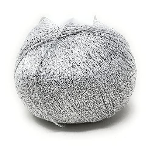 Chicca Tutto Moda Gomitolo 100 Grammi per Lavoro a Maglia e Uncinetto Ferri 3.5-4.5 Misto Cotone Viscosa Lurex Made in Italy Alta qualità (Argento)