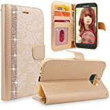 Galaxy S7 Active Case, Cellularvilla [Diamond Jewel] Embossed Flower Design Premium Pu Leather Wallet Case [Card Slots] Flip Protective Cover for Samsung Galaxy S7 Active SM-G891 (Golden Bling)