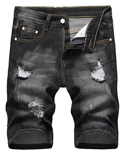 LATUD Men's Fashion Ripped Short Jeans Casual Denim Shorts with Hole, 304-Black, US 42 /Tag 42