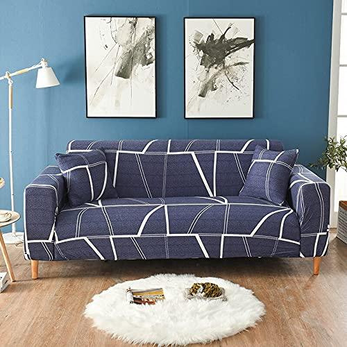 WXQY Funda de sofá elástica de Esquina Funda de sofá geométrica elástica Funda de sillón reclinable en Forma de L Funda de sofá Todo Incluido Antideslizante A8 3 plazas