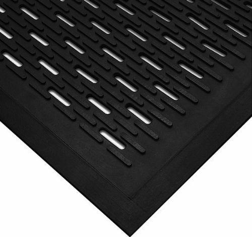 Wearwell Natural Rubber 224 UpFront Scraper Grease Resistant Mat, Slotted, for Outdoor Entrances, 3' Width x 5' Length x 5/16' Thickness, Black