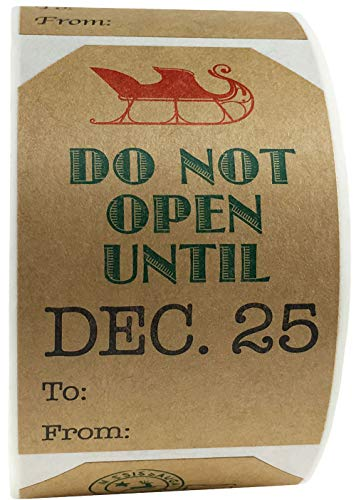 Do Not Open Until December 25 Gift Tags Present Stickers 2 x 3 Inch 100 Total Adhesive Labels