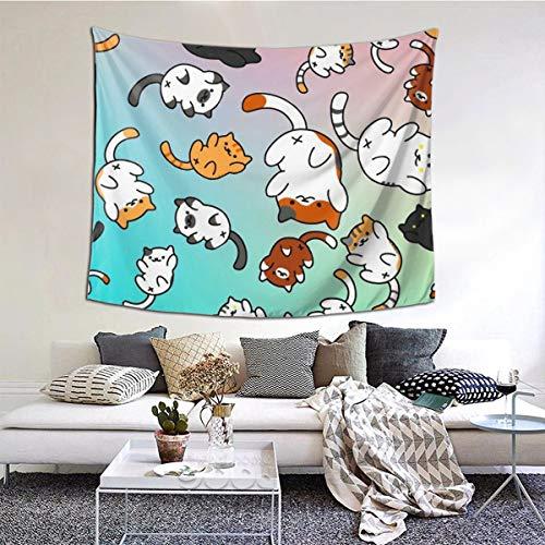 Neko Atsume Living Room Home Art Decor Tapestry Bedroom Dorm Wall Hanging 60 X 51 Inch