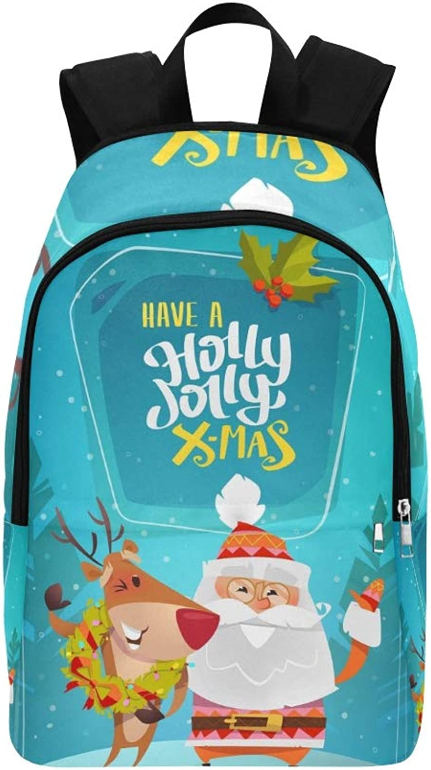 Cute Santa Claus Sweet Reindeer Laught Casual Daypack Travel Bag College School Backpack for Mens and Women