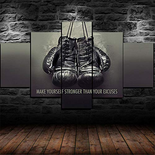 147Tdfc Kunstdrucke Moderne Druck Malerei Hintergrund Dekoration Modulare 5 Teiliges Wandbild Mike Tyson Championship Boxhandschuhe Poster Wandkunst Leinwand Creative Geschenk Kunstwerk 150X80 cm