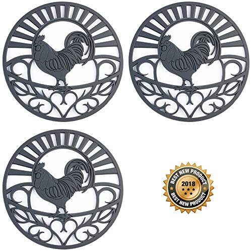Discover Bargain Silicone Trivet Set For Hot Dishes, Pots & Pans. These Kitchen Hot Pads 'Country Ro...