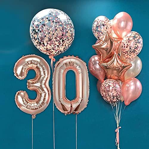 AcnA Luftballon 30. Geburtstag Rosegold, Geburtstagsdeko 30 Jahr Frauen mit 40 Zoll Luftballon 1 Deko Geburtstag Frauen, Rosegold Latex Ballons, Konfetti Ballon Folie Stern Ballon für Frauen Mehrweg
