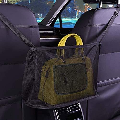 KINGMAS Car Net Pocket Handbag Holder, Car Purse Holder, Seat Back Organizers Mesh Driver Storage Purse Phone Documents Pouch Bag (Black, Upgrade)