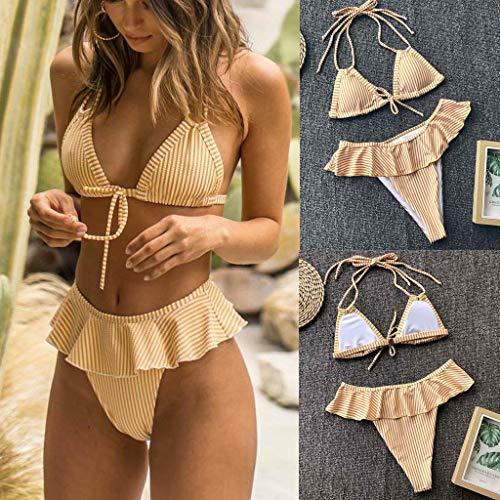Fossen Bikinis Mujer 2019 Push up con Relleno - con Falda Plisada Volantes Traje de Bañode Estampada Floral - Brasileños Bañador Ropa de Dos Piezas (L, Yellow)