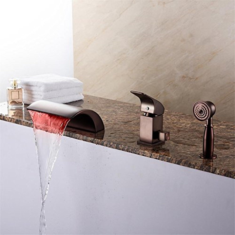 Uncle Sam LI - LED-Wasserfall Antike rmische Badewanne mit Keramik-Ventil mit einem Griff Drei Lcher für l-rieb Bronze Badewanne Wasserhahn