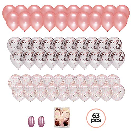 Large Set of 60 PREMIUM 12 Rose Gold Confetti Balloons: with Ribbon and Confetti Bag. Elegant Decorations for Shower, Bridal, Wedding, Engagement, Birthday Party. Pink, Blush, Ivory, Champagne Themes