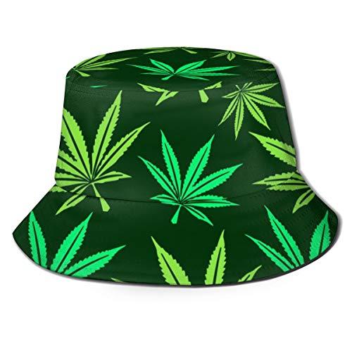 Mkh Predator Dino - Sombrero plegable de lona para primavera, verano y viajes de pescador, playa, color Hoja de marihuana, tamaño Talla única
