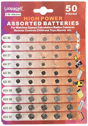 Loopacell High Power Super Alkaline Button Cell Assorted 1.5V Battery AG3/LR41 AG4/LR626 AG5/LR754 AG10/LR1130 AG13/LR44,50 Count (Pack of 1)