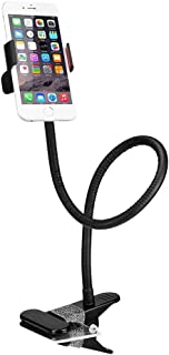 BESTEK Cell Phone Clip-on Holder Flexible Gooseneck Clamp Long Arms Mount Lazy Bracket Stand - Black