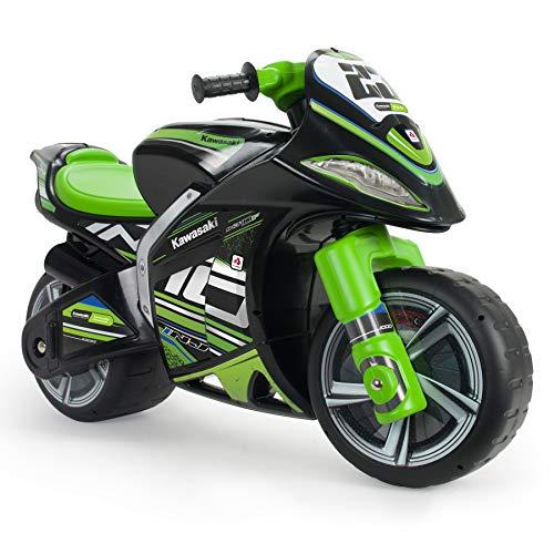 INJUSA - Moto Correpasillos Winner Kawasaki XL Color Negro y Verde, con Licencia Oficial de Marca Recomendado para Niños +3 Años con Ruedas Anchas y Asa de Transporte