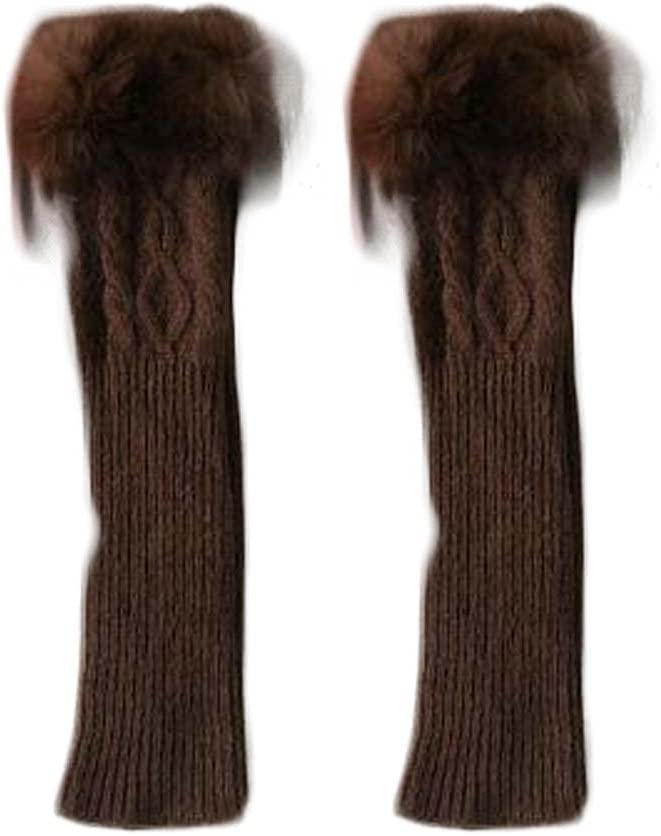 Panda Legends Brown Winter Warm Arm Sleeve Fingerless Thumb Hole Gloves Mittens Knitted Snowflake Arm Warmer for Womens