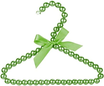 CHUNJIANGSHUI 1pc Fashion Pearl Bow Clothes Clothing Hangers For Kids Children Pet Dog Cat Clothing Hangers Racks  Color Green