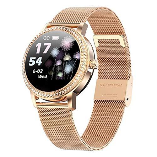 AEF Bluetooth Smartwatch para Android y iOS, Reloj Inteligente Bluetooth Smart Watch Mujeres IP68 Impermeable Deportes Fitness Tracker, Monitor sueño,Podómetro,SMS,Recordatorio Llamada,Oro