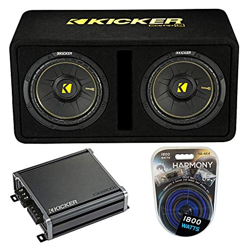 Kicker Bundle 44DCWC102 CompC Ported 10' Loaded Sub Box w/ CXA800.1 Amp &...