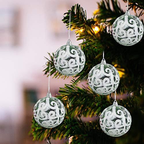 Belle Vous Palline di Natale Trasparenti (Set da 12) - Palle di Natale Plastica da 7,7cm con Vortice Bianco - Palle Natale Plastica Trasparente con Spago per Decorazioni Natale e Addobbi Albero Natale