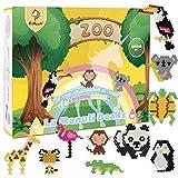 La Manuli Wasserperlen für Kinder Zoo Set | Kompatibel mit Aquabeads | 3000 Aqua Perlen in 13 Farben mit Glitzerperlen | Beinhaltet Schlüsselanhänger, Schablonen etc Zubehör