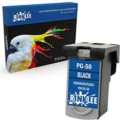 RINKLEE Remanufacturado para Canon PG-50 PG50 Cartucho de Tinta Compatible con Canon Pixma MP150 MP160 MP170 MP180 MP450 MP460 MX300 MX310 iP2200 iP2400 | Negro
